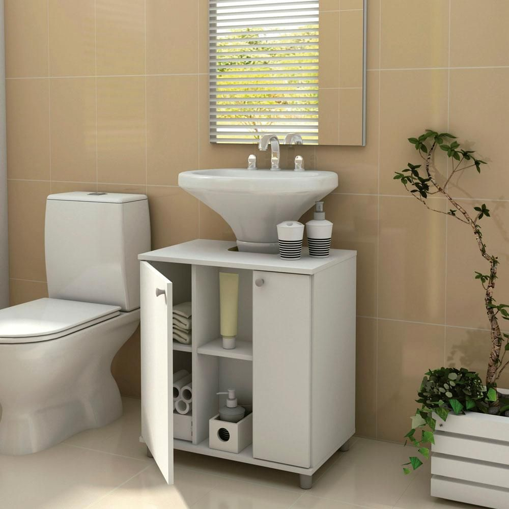 Gabinete para banheiro politorno com 2 portas branco for Gabinete para bano pequeno