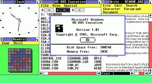 Microsoft Windows 1.0 was released in November 1985.