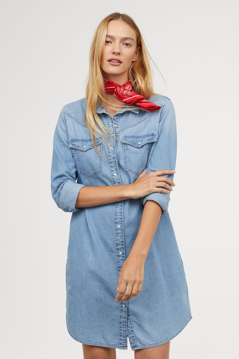 f313e1eab16 Denim Shirt Dress | OUTFITS | Denim shirt dress, Dresses, Light denim
