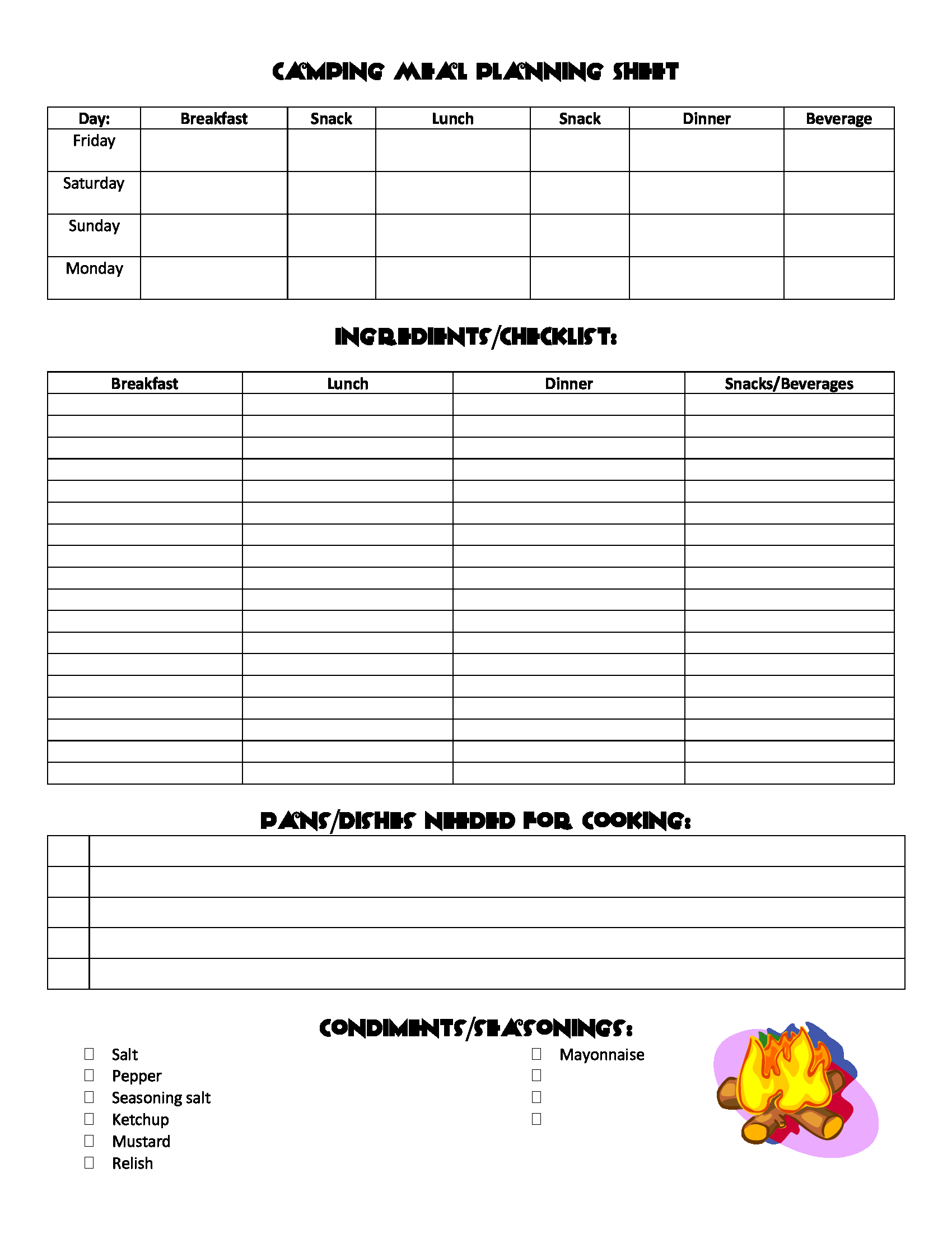 Camping Meal Planning Sheet With Images
