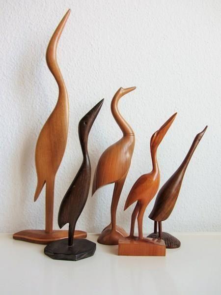 Vogel Holz reiher vogel holz figur teak 50er 60er in zürich kaufen bei ricardo