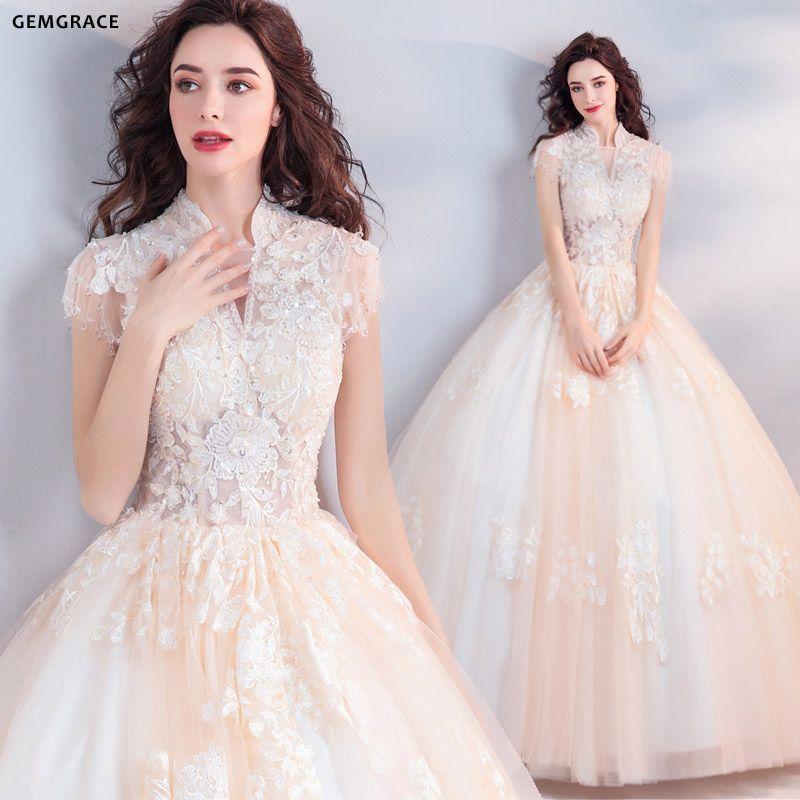 e10e770bd22 Unique Collar Lace Champagne Ball Gown Wedding Dress Princess ...