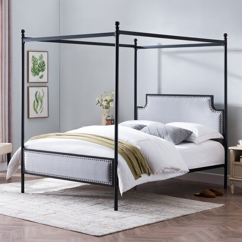 Rosdorf Park Brewster Queen Size Iron Canopy Bed Frame With Upholstered Studded Headboard Wayfair Iron Canopy Bed Canopy Bed Frame Queen Canopy Bed Metal canopy bed frame queen