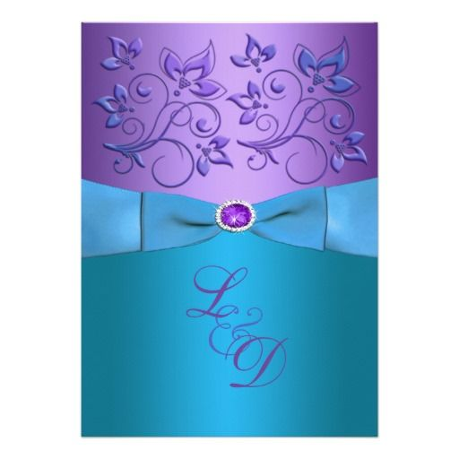 Custom Purple Turquoise Fl Monogram Wedding Invite Created By Niteowlstudio This Invitation Design Is Available On Many Paper Types And Completely
