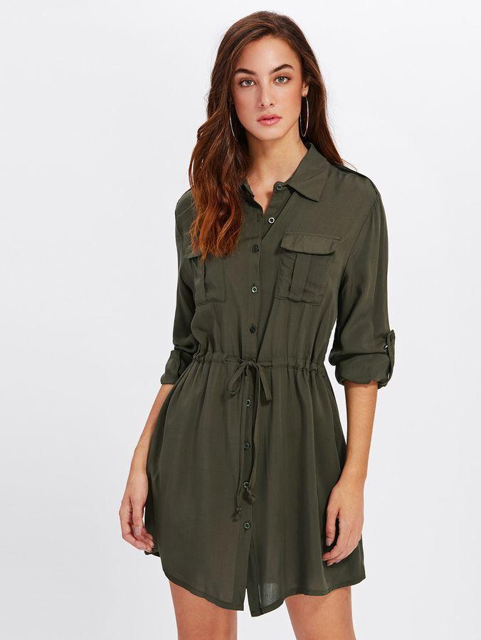 c8b80bb8bbd Shein Roll Up Sleeve Pocket Front Drawstring Dress