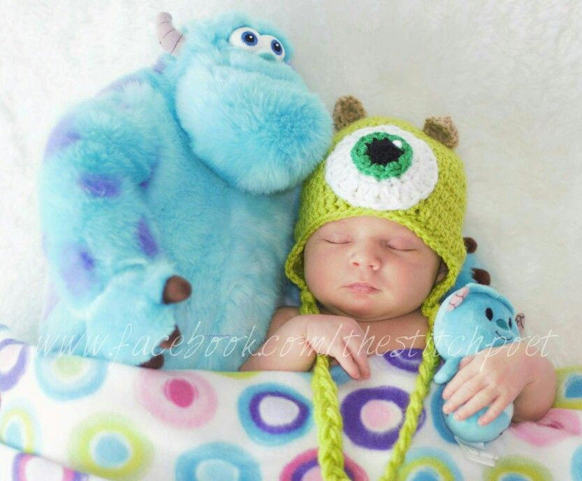 Crochet mike wazowski monsters inc newborn photography prop www facebook com thestitchpoet