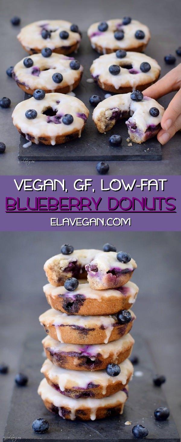 Baked Blueberry Donuts With Lemon Glaze (Vegan, Gluten-Free) #glutenfreebreakfasts