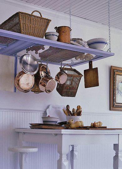 Repurpose Hanging Pot Rack : repurpose, hanging, Repurposed,, Upcycled,, Storage, Ideas, Apartment, Therapy, Re-Nest, Screen, Doors,, Doors, Hanging