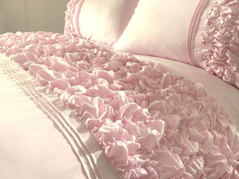 Pink White Cream Duckegg Quilt Cover Ruffles Bedding Sets Ebay