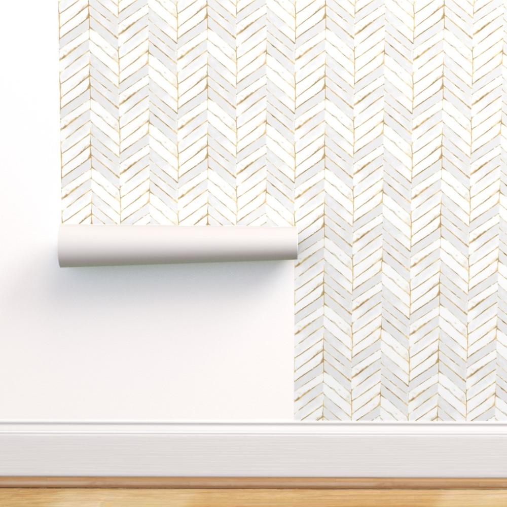 Peel And Stick Removable Wallpaper Chevron White Stripe Herringbone Mod Gold Walmart Com Chevron Wallpaper Peel And Stick Wallpaper Self Adhesive Wallpaper