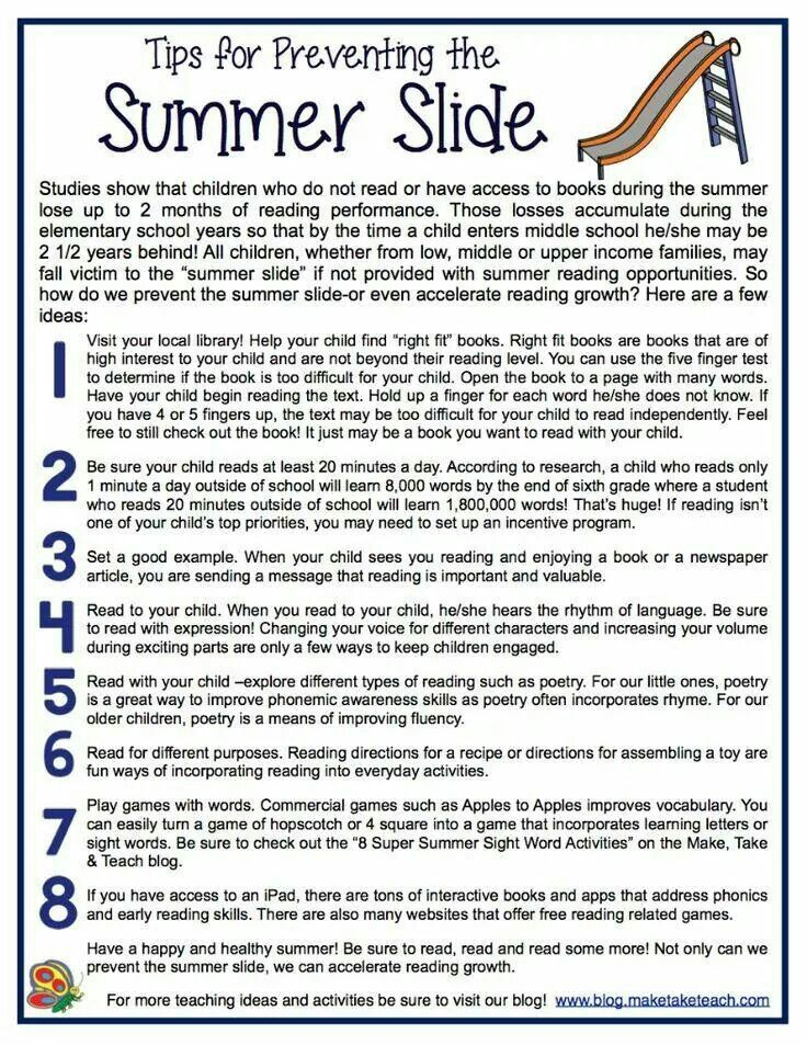 Preventing the Summer Slide | Parents as teachers, Parent ...