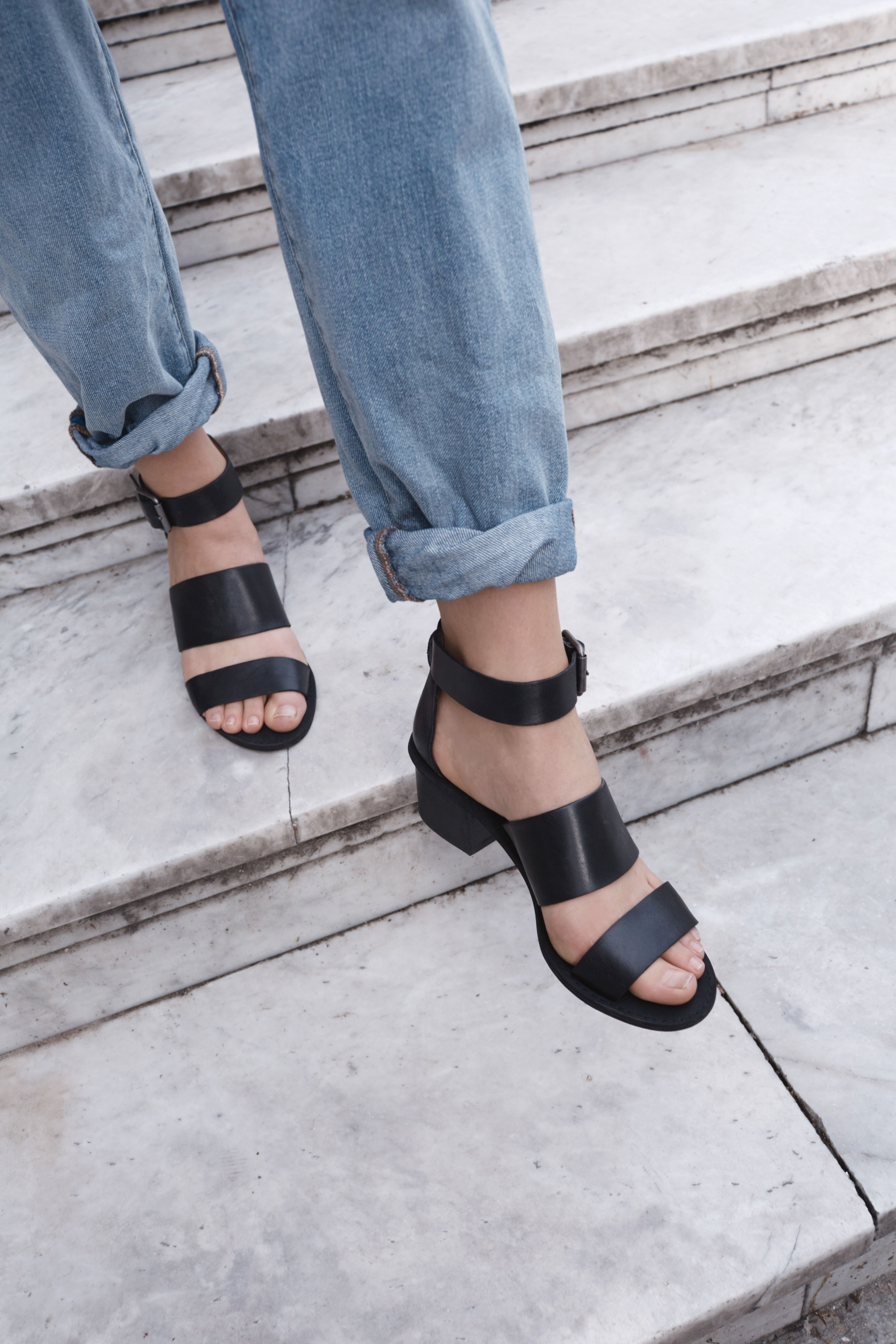 Black leather sandals low heel - Fashion Trends Outfit Ideas What To Wear Fashion News And Runway Looks Black Sandalsstrappy Sandalsblack Shoeslow Heel