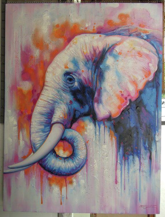 Elefant Malerei Olgemalde Auf Leinwand 36 X 48 Olgemalde Auf