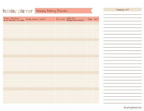 Printable Holiday Baking Planner Printables Holiday Baking