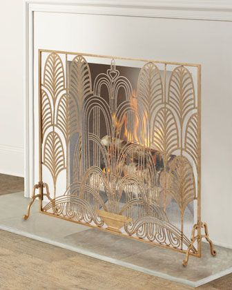 Photo of Classic Art Deco Single Panel Fireplace Screen