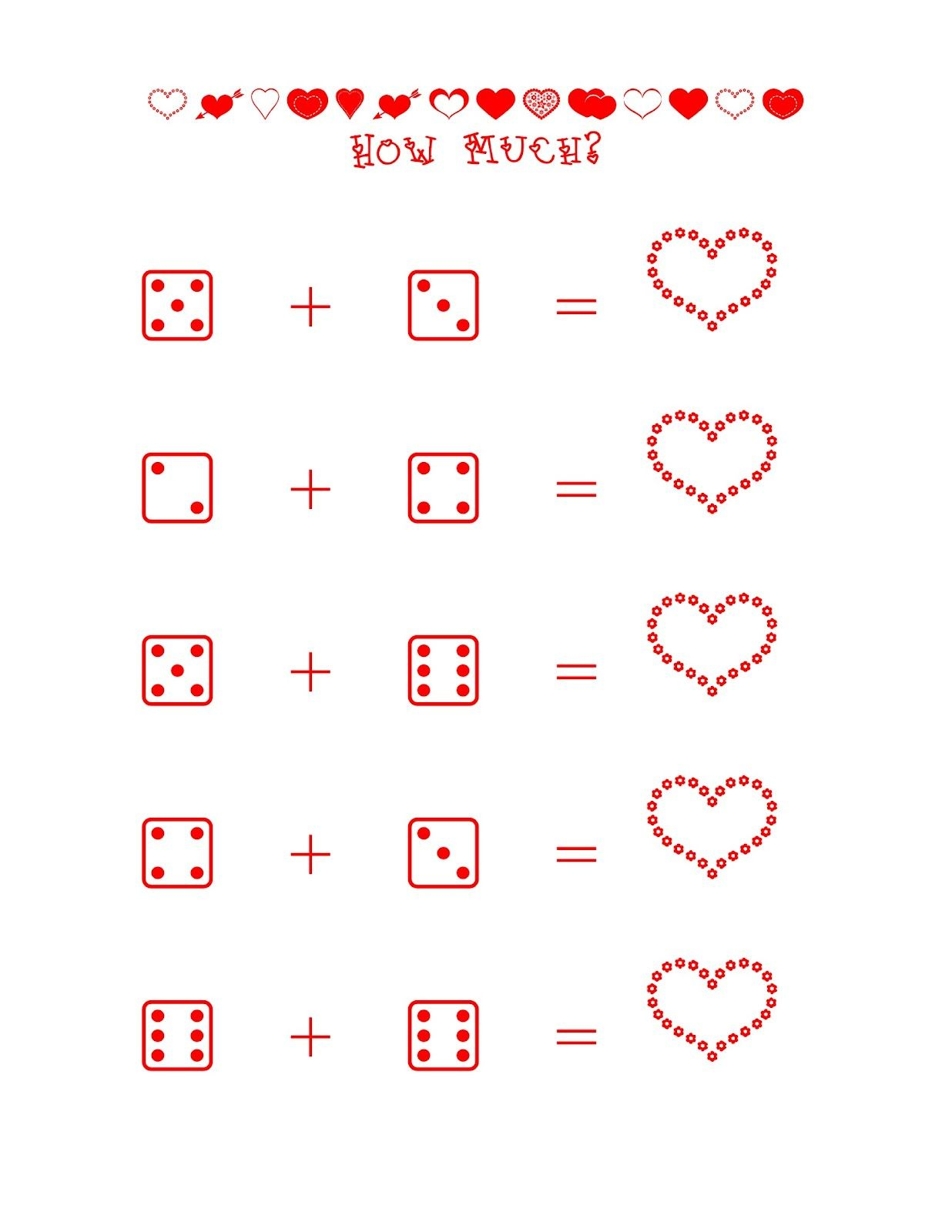 Valentine S Dice Addition Independent Practice Sheet