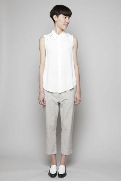 Something Else Bind Sleeveless Shirt in Ivory