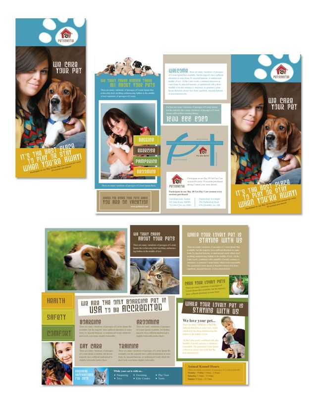 Dog Kennel  Pet Day Care Tri Fold Brochure Template HttpWww