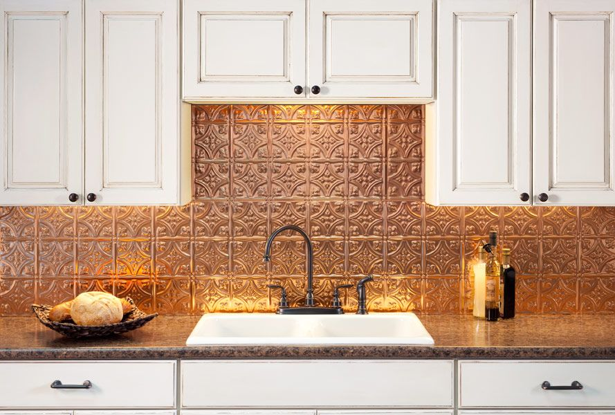 Fasade Backsplash Traditional 1 In Polished Copper Kitchen