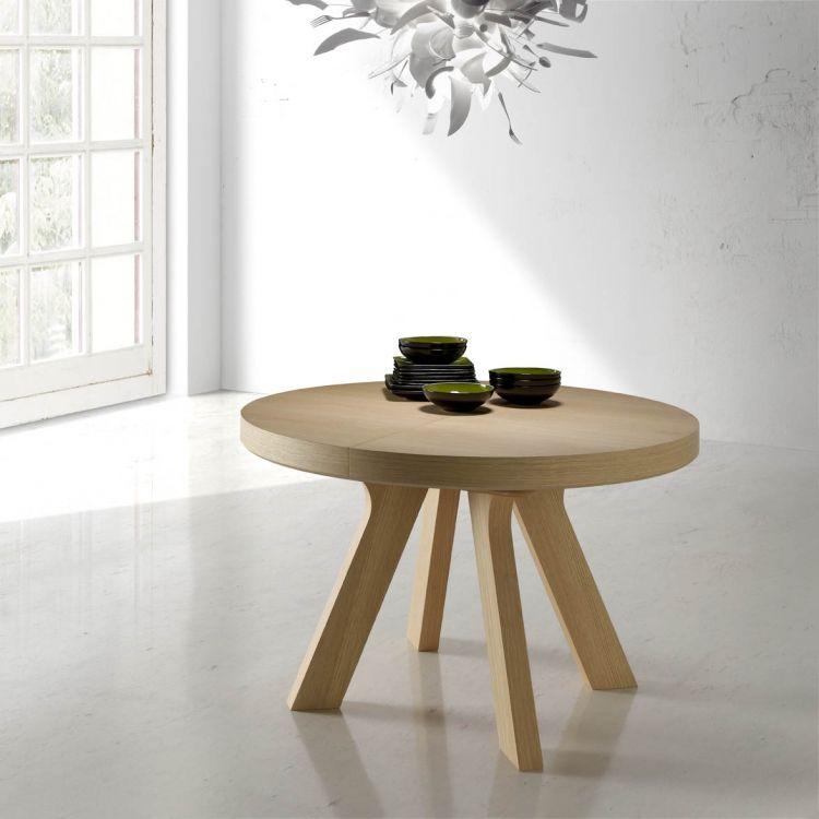Mesa redonda extensible de madera - Mesa de madera extensible. Mesa redonda de 120 cm