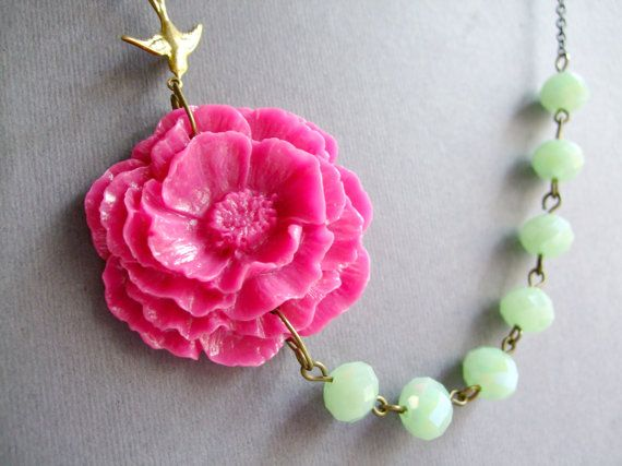 Statement Necklace,Hot Pink Poppy Flower Necklace,Mint Jewelry,Bridesmaid Jewelry Set,Beadwork,Strand Jewelry,Gift (Free matching earrings)