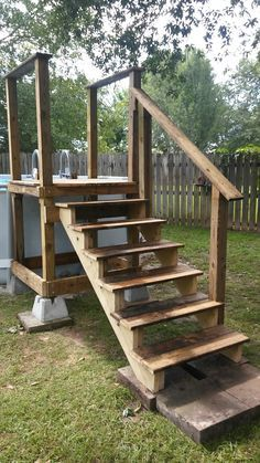 Genial Pool Access Platform W/repurposed Pool Ladder (going Into Pool). Above  Ground Pool Deck .