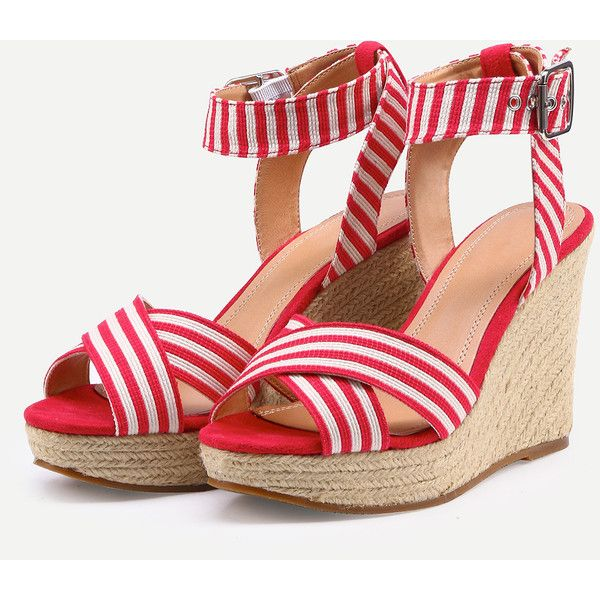 SheIn(sheinside) Crisscross Striped Ankle Strap Wedges- Red ($21) ❤ liked on Polyvore featuring shoes, peep toe ankle strap shoes, red plaid shoes, wedge heel shoes, red ankle strap shoes and ankle wrap shoes