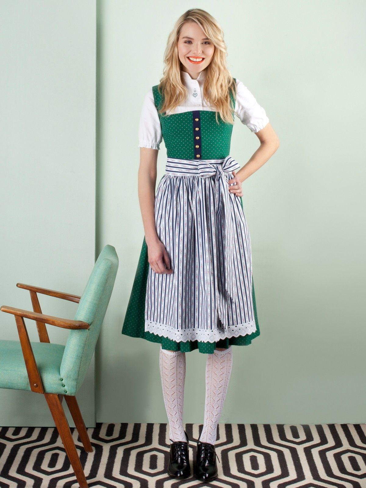 08339dc1fee Grünes Dirndl aus Baumwolle mit blauer Streifen-Schürze von JAN INA ...