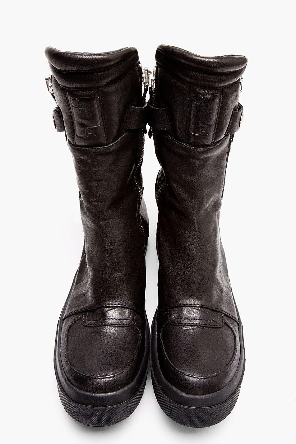 CA BY CINZIA ARAIA Black Leather New Jump Boots