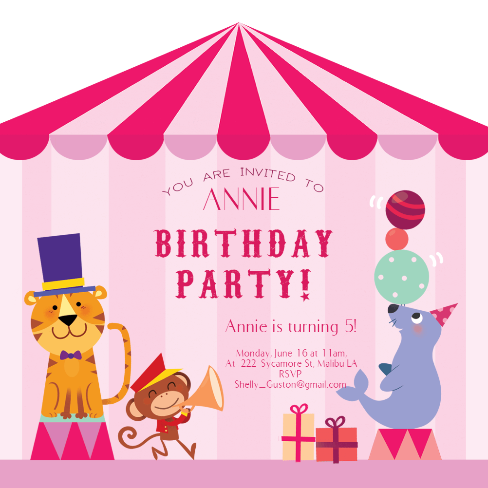 Pink Circus Birthday Invitation Template Free In 2019 4th Bday