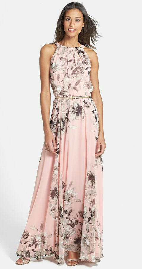 b0f0f2c4d4a Great dress for a guest of a destination wedding! Eliza J Belted Chiffon  Maxi ...