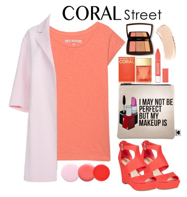 """""""Coral Street"""" by nurmachan ❤ liked on Polyvore featuring True Religion, Paul Smith, Michael Kors, Bar III, Lancôme, Sephora Collection, Bobbi Brown Cosmetics, Nails Inc., Lauren B. Beauty and women's clothing"""