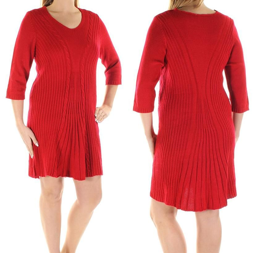 e8e541a1882 NY COLLECTION Petite Cable-Knit A-Line Sweater Dress SIZE PL RED in ...