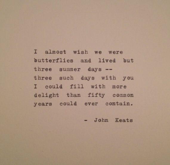 John Keats Quote Typed on Typewriter / typewriter poem / typewriter quote