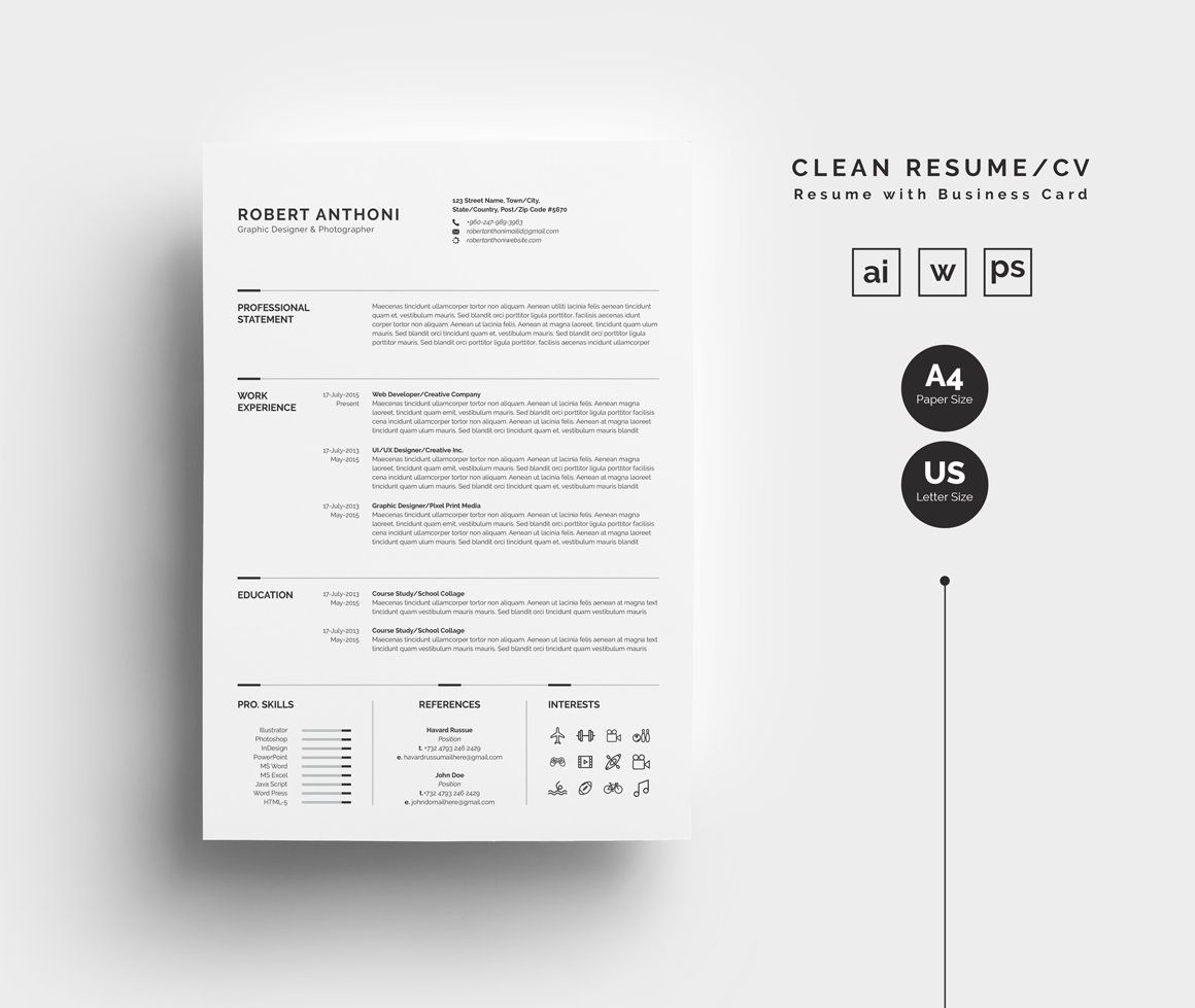 Clean Resume/CV By WhiteGraphic On @creativemarket