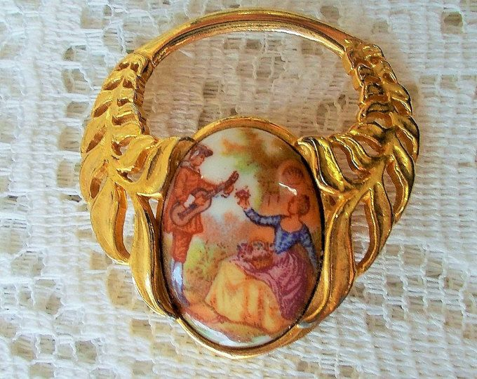Signed 'Exquisite' UK Hand Enameled and Goldtone Leaf Filigree Scarf Clip, Victorian Era Courting Couple