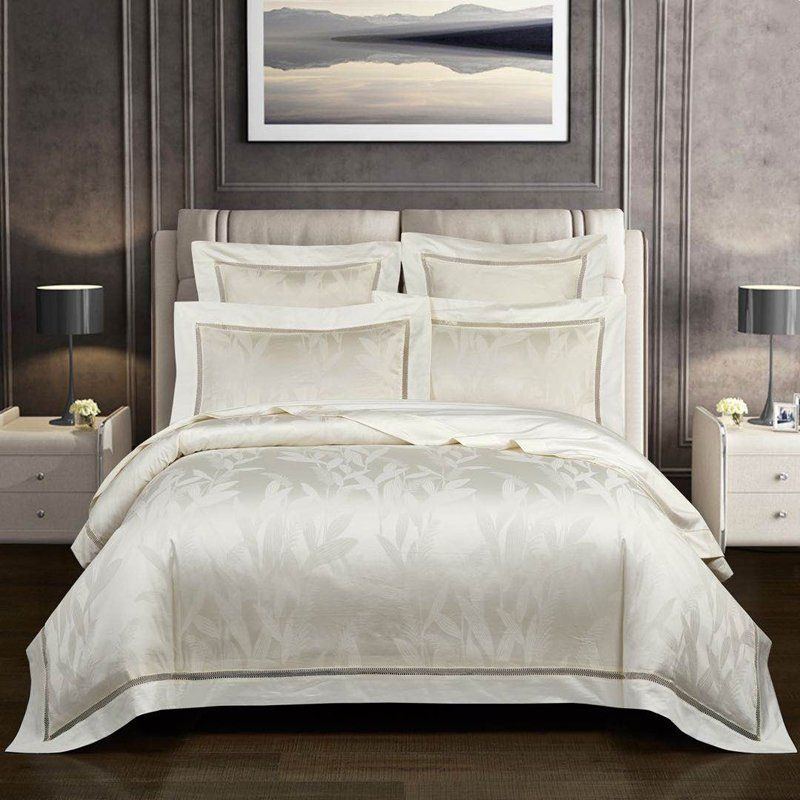 Bridal Style Shiny White Romantic Style Full Queen Size Bedding Sets Duvet Cover Sets Egyptian Cotton Duvet Cover Cotton Bedding Sets White queen size duvet cover