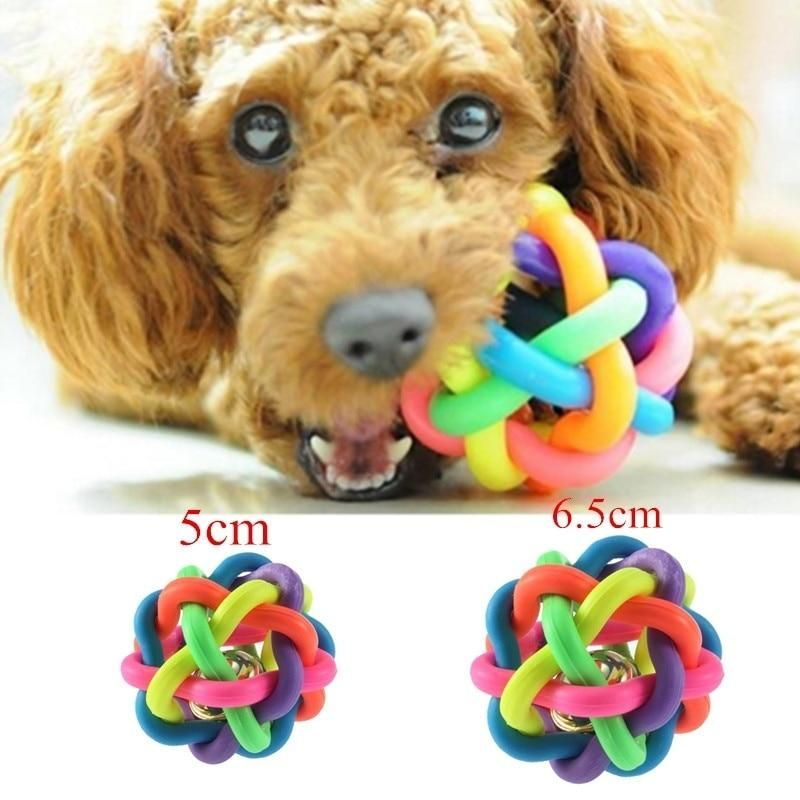 Dog Puppy Or Cat Bell Sound Rainbow Rubber Ball Of Fun Cute Dog