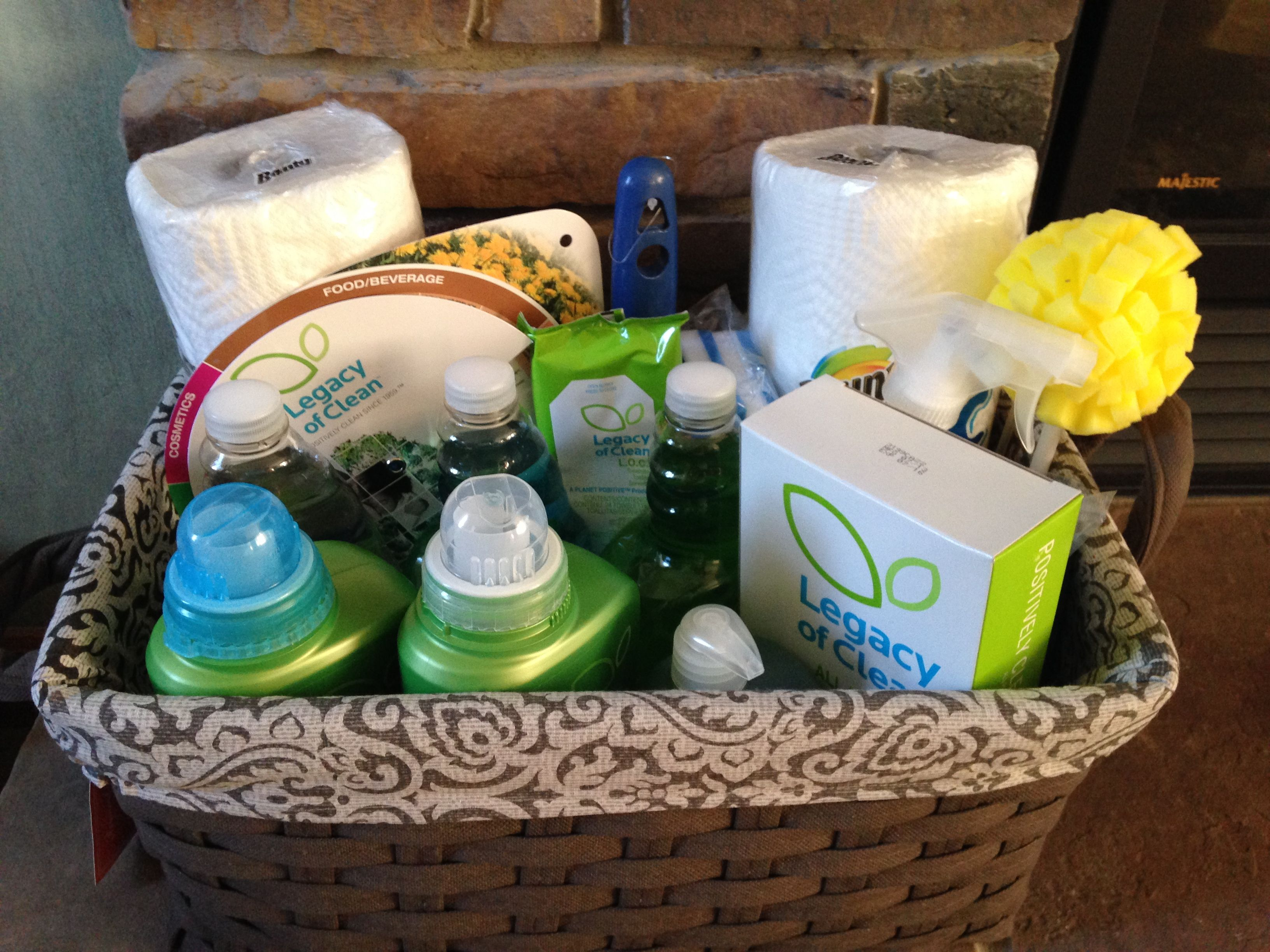 Housewarming gift basket all green cleaning products Housewarming gift ideas