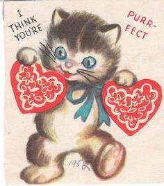 vintage valentine card cat heart cards children 1952 youre purr fect - Cat Valentine Cards