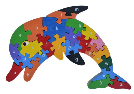 Dolphin Alphabet Puzzle Wooden Animal Puzzle Abc Wooden Etsy In 2021 Wood Puzzles Patterns Wooden Puzzles Alphabet Puzzles