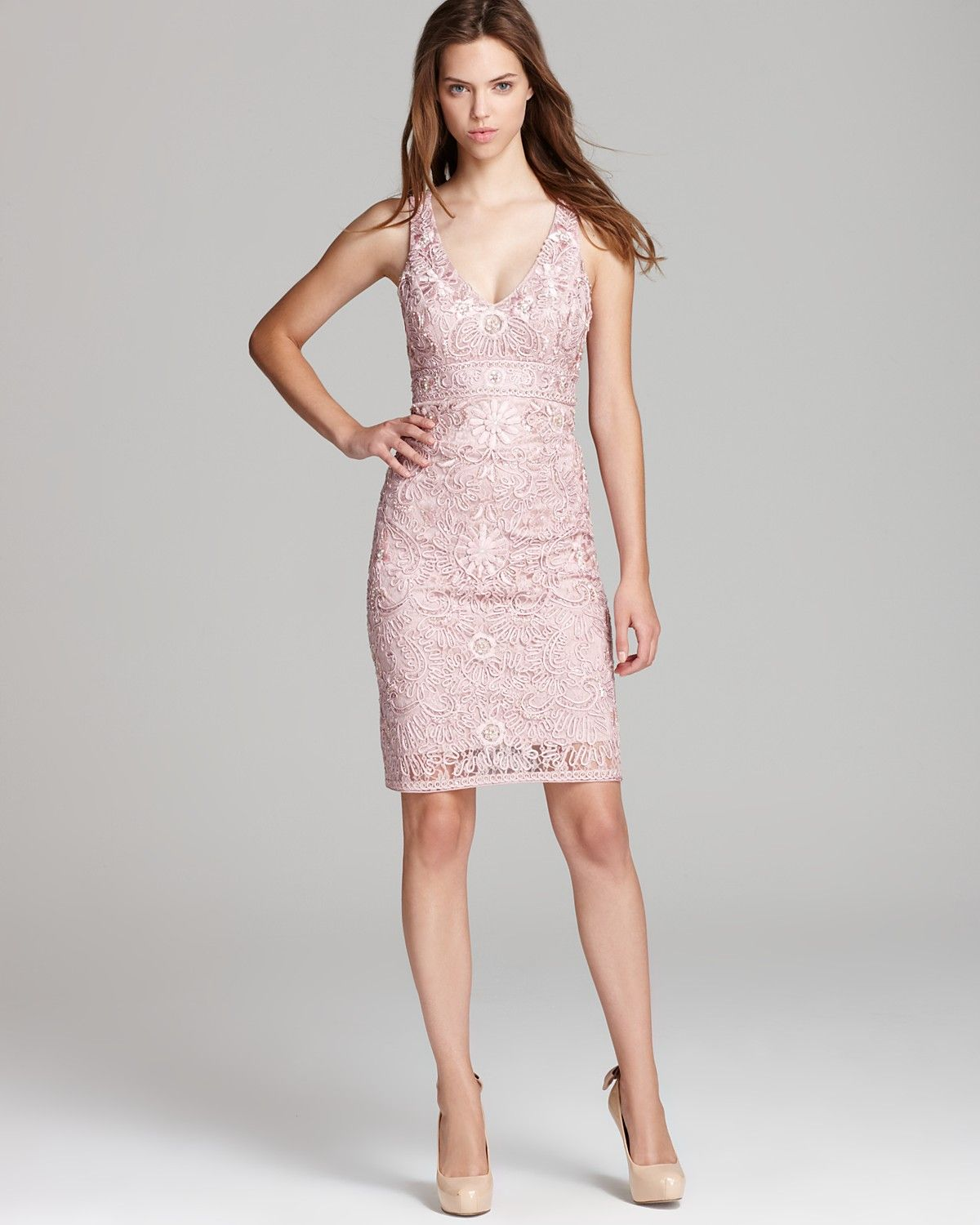 Sue Wong Short Dress - V Neck (Bloomingdale\'s) | Pink & Peach ...