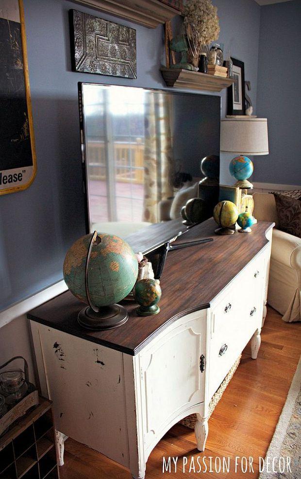 Craigslist Buffet Turned Media Cabinet in 2019 Painted Furniture Media cabinet, Furniture