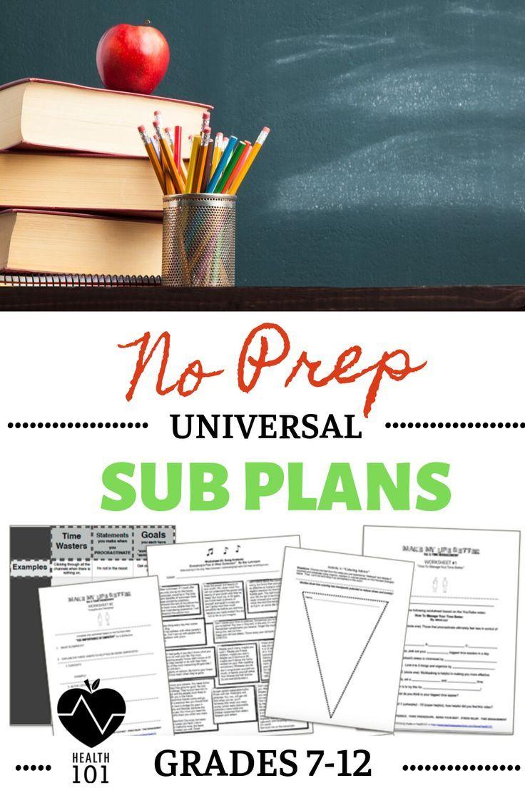 Sub Plans BUNDLE! Middle School / High School: 5 Universal Plans For Any Class #emergencysubplans