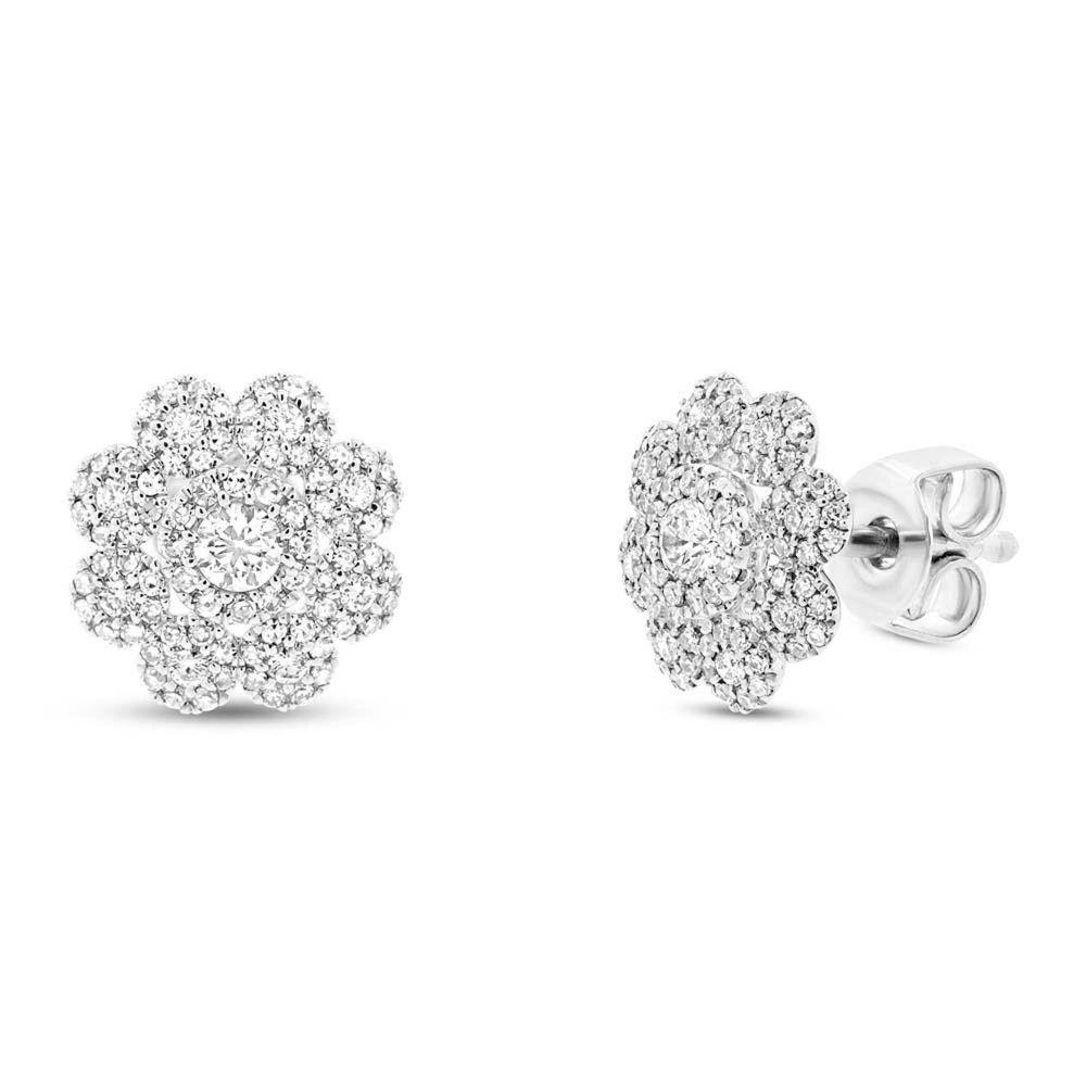 aa3e675e61cdf London Collection 14k gold diamond flower cluster earrings. 14k gold ...