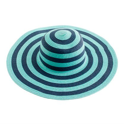"""J. Crew: Summer straw hat in blue/green stripes. Color combination is called """"sunwashed aqua."""" Great for the beach!"""