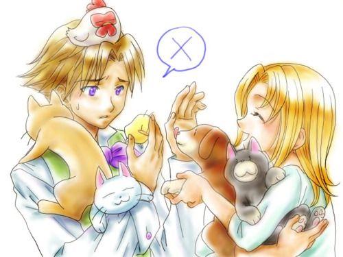 Gretel and Ivan from Harvest Moon Grand Bazaar. Poor Ivan seems overwhelmed by his wife's happy menagerie!