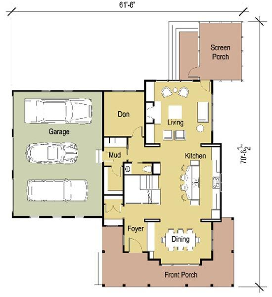 Deephaven Modern Cottage House Main Level Floor Plan In Minnesota United States House Plans Cottage House Plans House Floor Plans