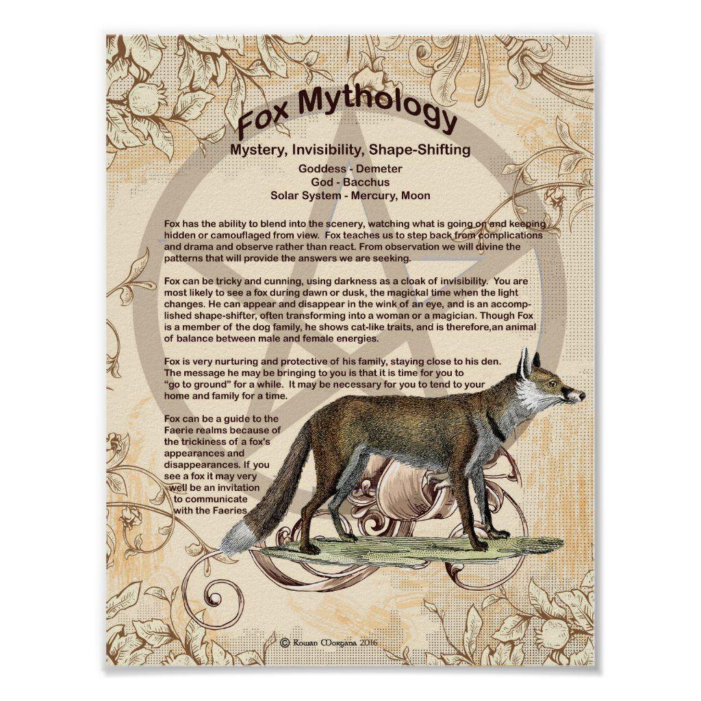 Fox Mythology Poster Zazzle Com Shadow Creatures Mythology Book Of Shadows