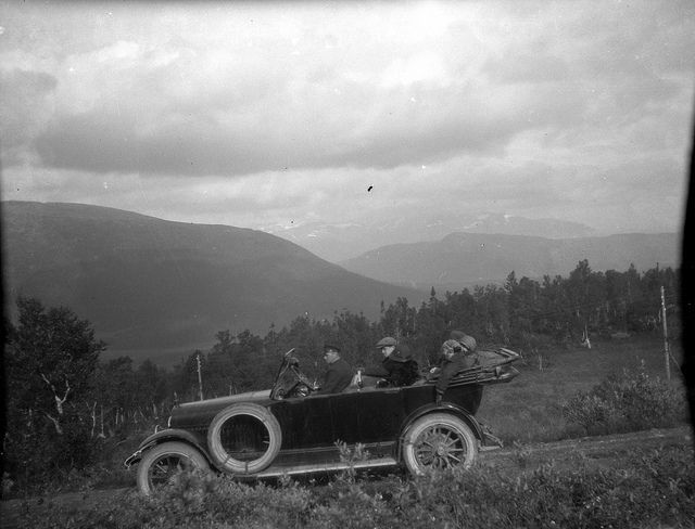 Driving Through the Norwegian Countryside 1920s black and white